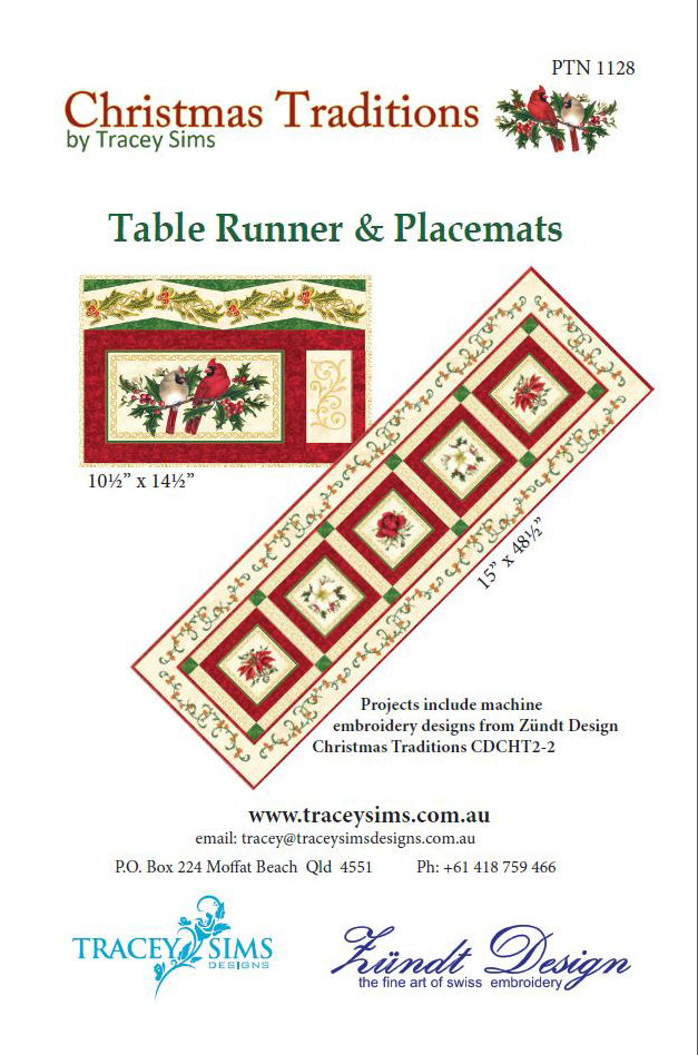 Stand Alone Lace Embroidery Designs : Christmas traditions placemat tablerunner pattern